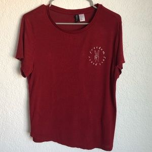 H&M Peace Freedom Love Red Tee